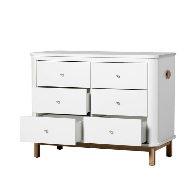 OLIVER FURNITURE WOOD NURSERY DRESSER 6 DRAWERS (LARGE CHANGER TOP) - WHITE/OAK