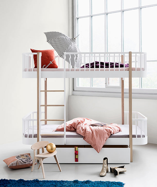 OLIVER FURNITURE WOOD BUNK BED - WHITE | OAK