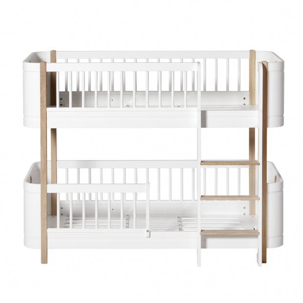 OLIVER FURNITURE WOOD MINI+ LOW BUNK BED - WHITE | OAK