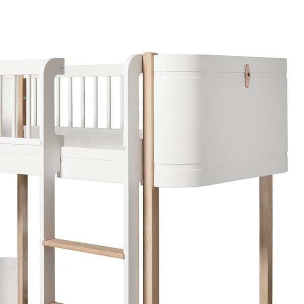 OLIVER FURNITURE MINI + LOW LOFT BED - WHITE | OAK