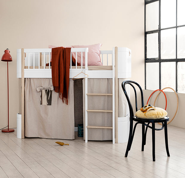 Oliver Furniture Mini+ Low Loft Bed - White/Oak