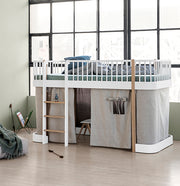 OLIVER FURNITURE WOOD LOW LOFT BED - WHITE | OAK