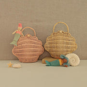 Olli Ella Rattan Shell Bag - Rose