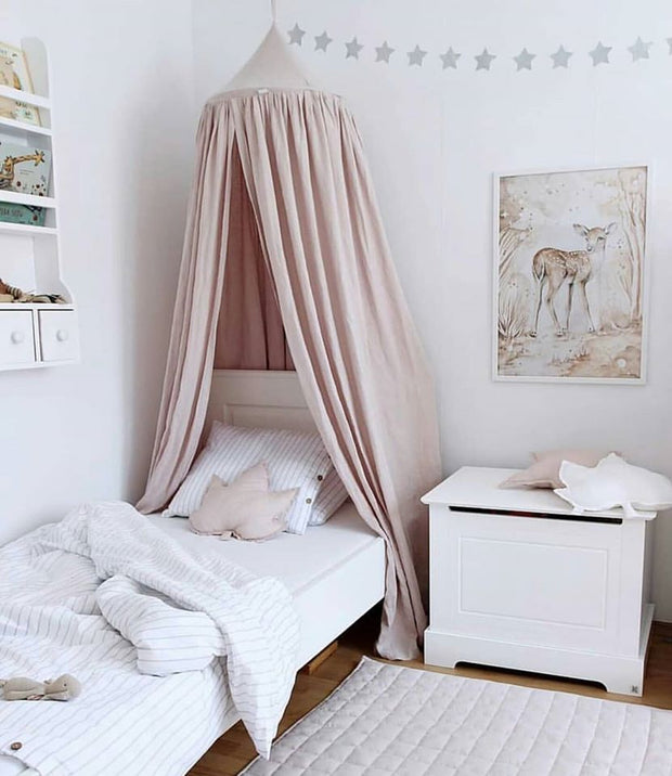 COTTON & SWEETS PURE NATURE LINEN CANOPY - POWDER PINK