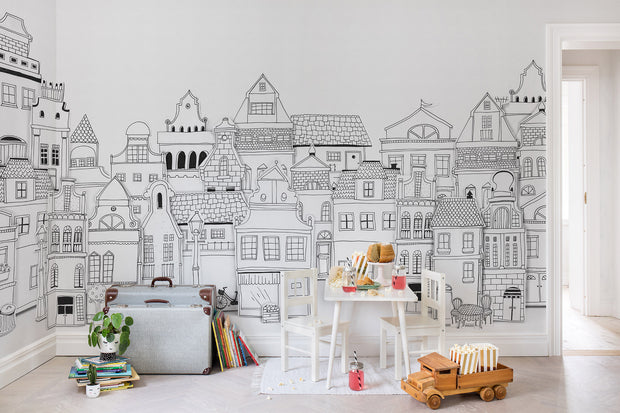 KIDS CUSTOM WALL MURAL - LONDON HOUSES