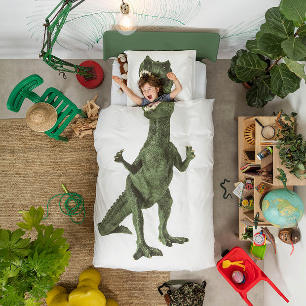 Snurk Green Dino Organic Bedding Set