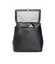 STORKSAK ST JAMES LEATHER BACKPACK - BLACK