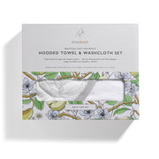 STORKSAK HOODED TOWEL AND WASH CLOTH - GARDEN PRINT