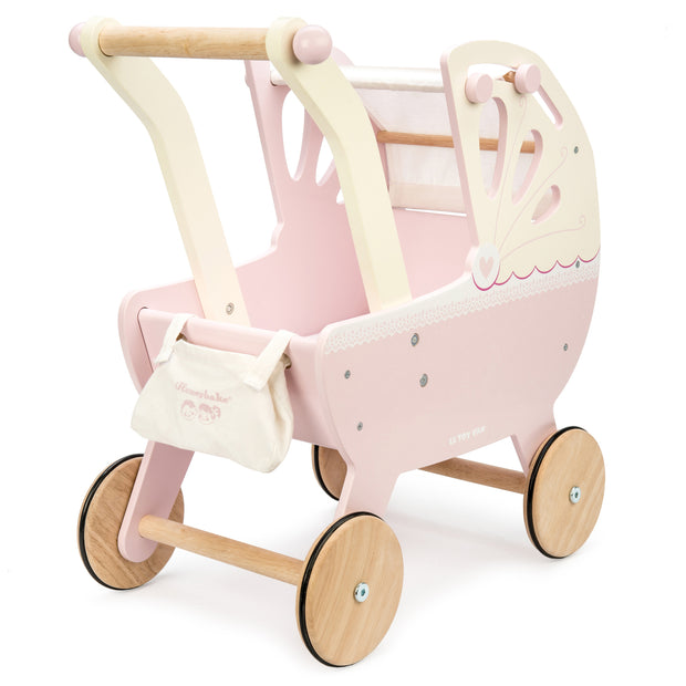 LE TOY VAN SWEET DREAMS WOODEN DOLL PRAM - PINK