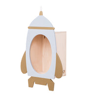UP WARSAW SPACE ROCKET WOODEN SHELF - WHITE + GOLD