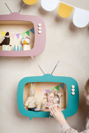 Up Warsaw Kids TV Wooden Shelf - Ocean Green