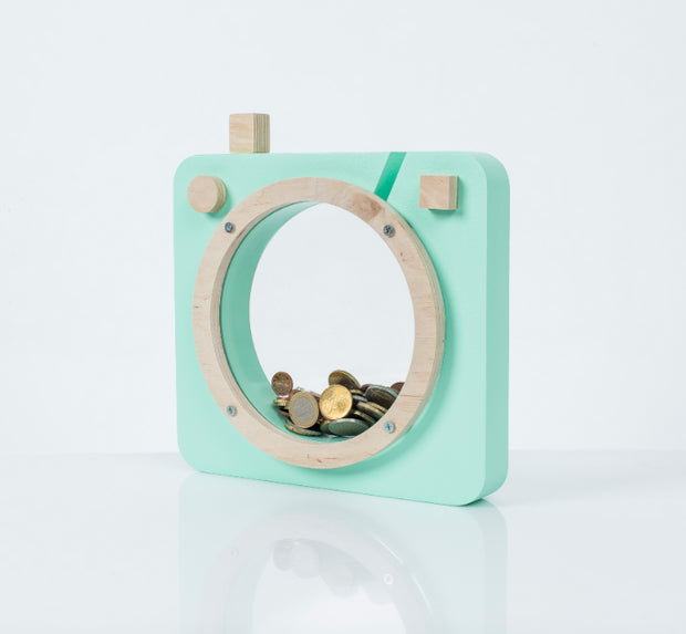 Up Warsaw Wooden Camera Money Box (Various Colours)