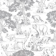 Woodland Animals - White Wallpaper