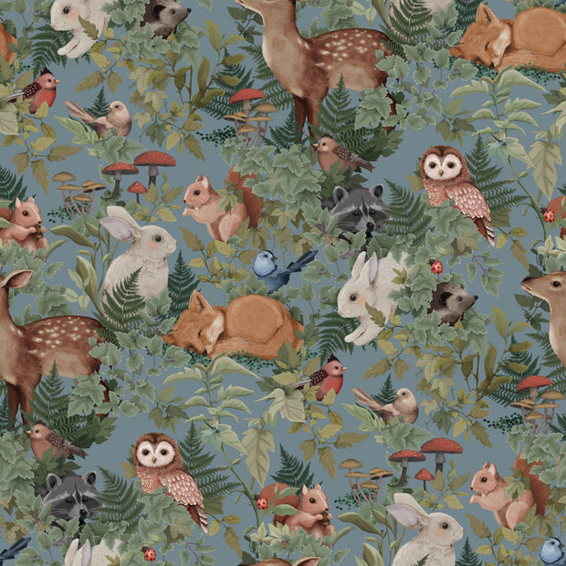 JIMMY CRICKET WOODLANDS WALLPAPER - DUSTY BLUE