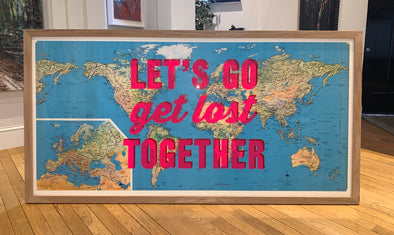 Dave Buonaguidi - 'Let's Go get Lost Together' Original World Map