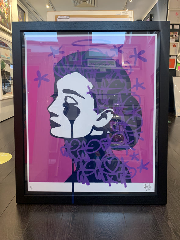 Pure Evil - 'Audrey - Purple Tags' Unique Hand Finished Print