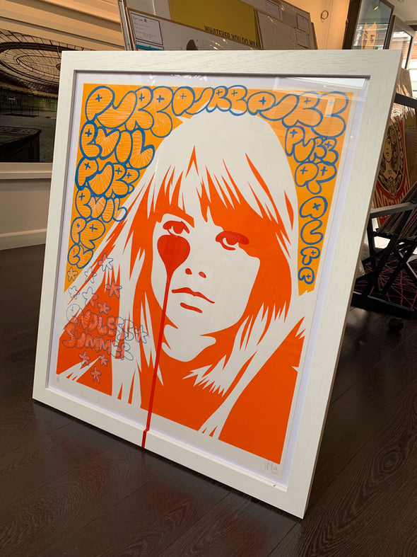 Pure Evil - 'Francoise Hardy - Jaques Dutronc's Nightmare - Endless Summer Bubble Letters' Unique Hand-finished Print