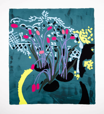 Bruce McLean - 'Light Blue Garden Seat With Violet Stalks'