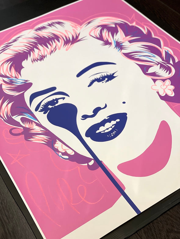 Pure Evil - 'Classic Marilyn - Pink Lady' Unique Hand Finished Print