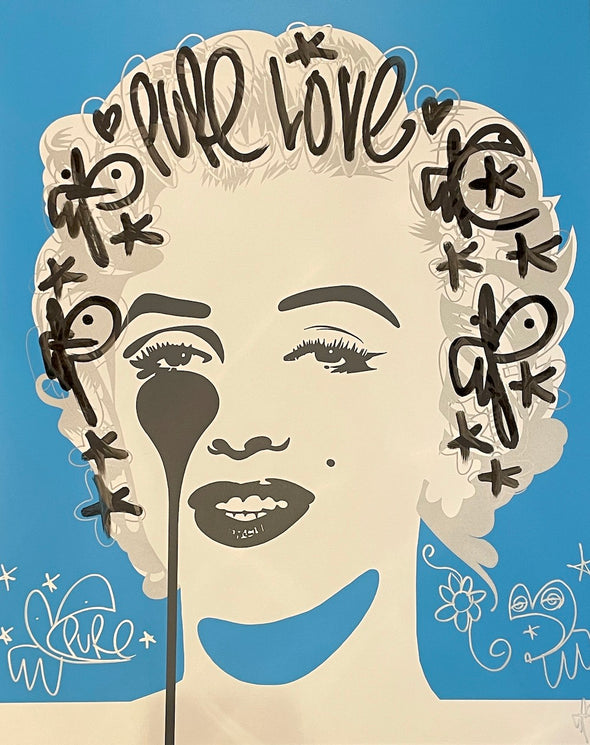 Pure Evil - 'Classic Marilyn - Pure Love' Unique Hand Finished Print