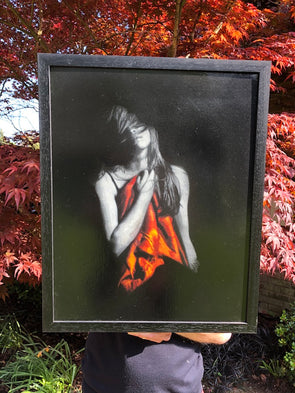 Snik - 'Memories Fade Away' (Orange) Original Canvas