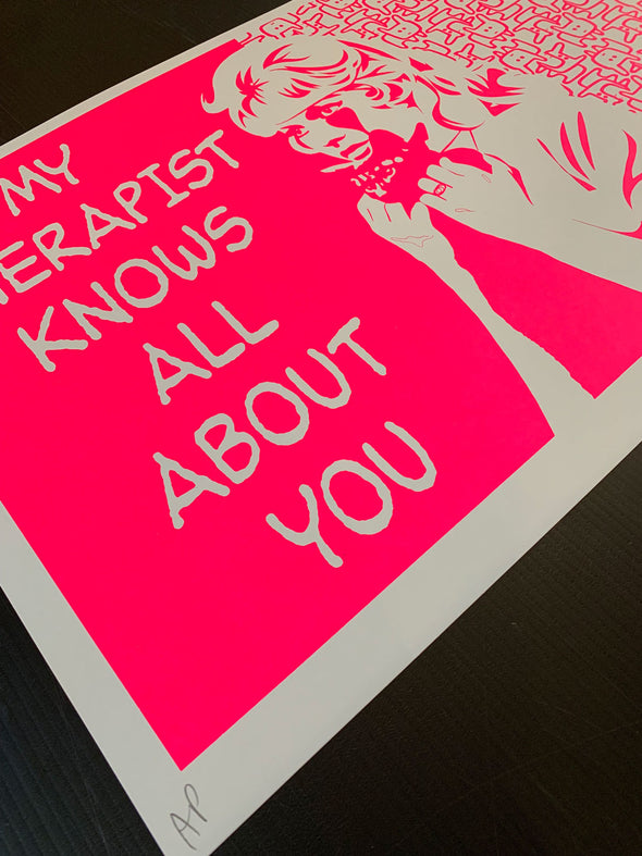 Pure Evil - 'My Therapist Knows All About You - Pink' (Framed)