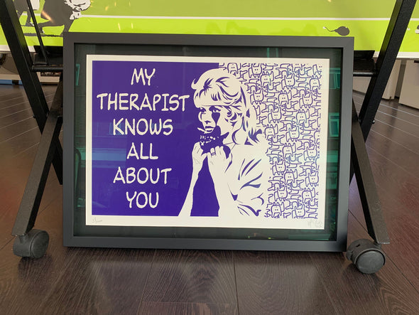 Pure Evil - 'My Therapist Knows All About You - Purple' (Framed)