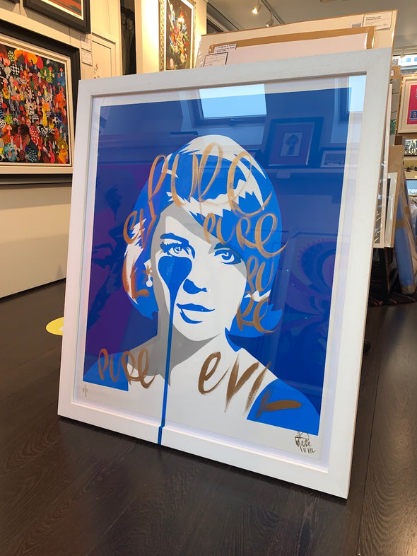 Pure Evil - 'Natalie Wood - Gold Brush Strokes' Unique Hand Finished Print
