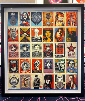 OBEY Shepard Fairey - 'Facing The Giant' 30th Anniversary Postcard Set' (Framed)