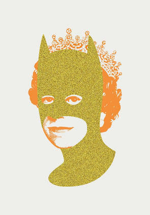 Heath Kane - 'Rich Enough To Be Batman - Gold Glitter and Neon Orange'