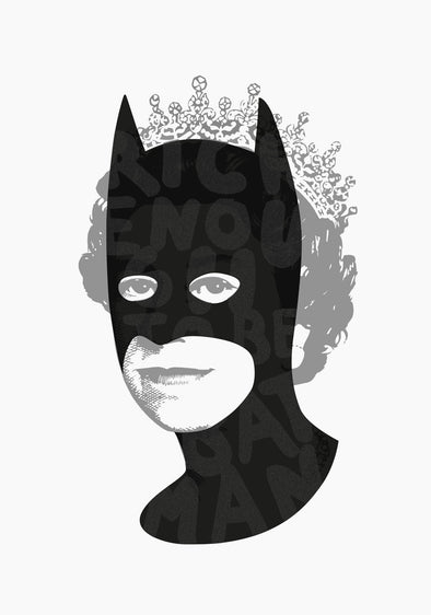 Heath Kane - 'Rich Enough To Be Batman - Large Black Diamond Glitter'