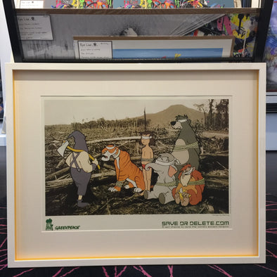 Banksy - Save or Delete Banned Greenpeace Poster (Framed) plus Stickers