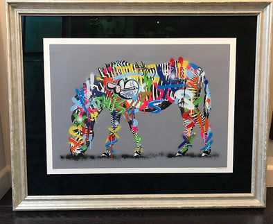 2341: Martin Whatson - 'Zebra' (Hand finished) Very Rare print from 2014 (Framed)