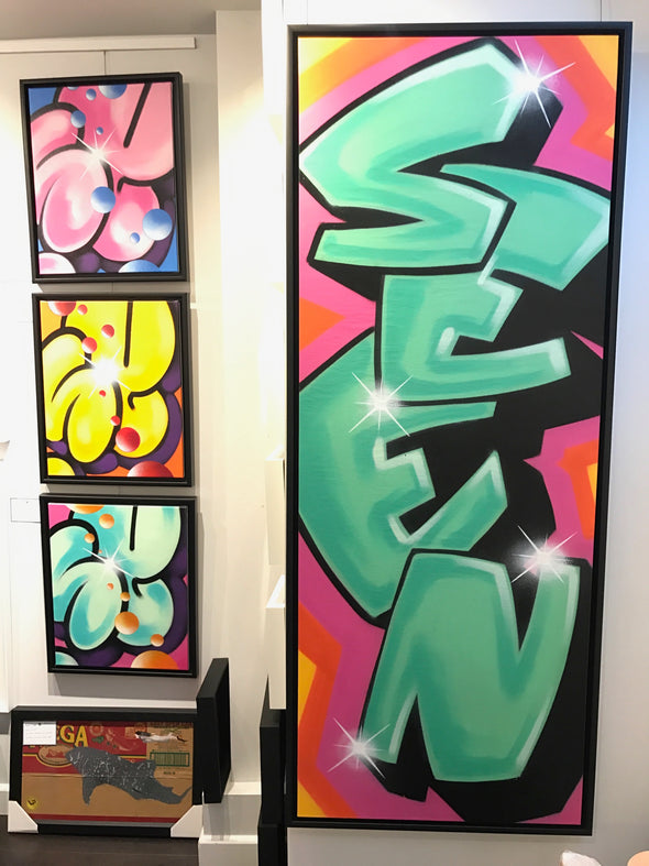 SEEN - 'Green Seen Day' Original Graffiti Canvas (Framed)