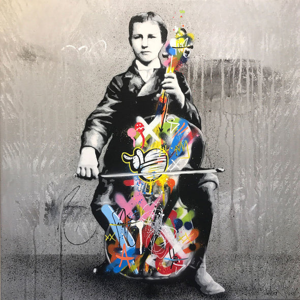 Martin Whatson - 'Cello Play' Original Art on Canvas (Framed)