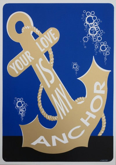 1646: Canvaz - 'Anchor' (Royal Blue and Metallic Gold Variant Edition) (Framed)