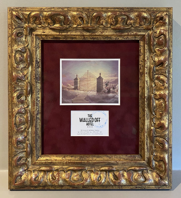 Banksy - The Walled Off Hotel 'Pearly Gates' Stamped Postcard (very rare)