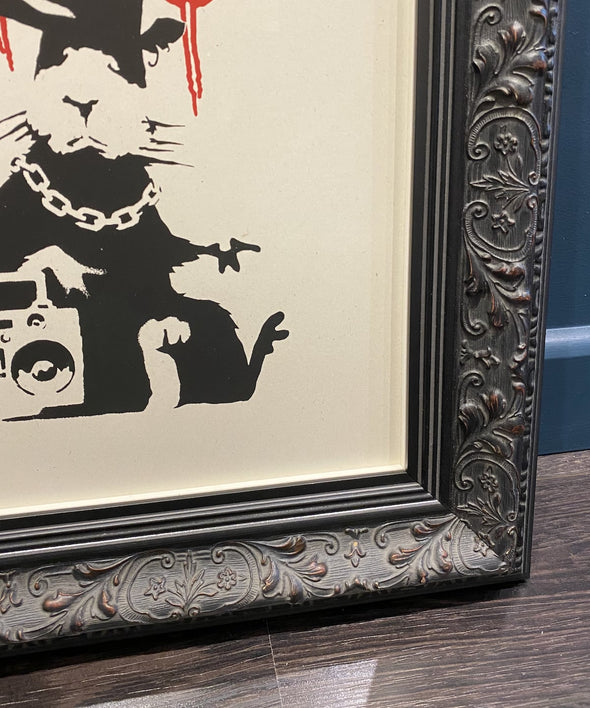 West Country Prince -'Gangsta Rat' (Banksy replica in ornate frame)