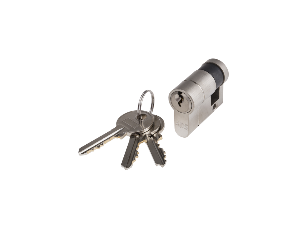 ADS EP50KD 50mm Nickel Plated Euro Profile Single Cylinder - Keyed to Differ - AluminiumDoorSupplies