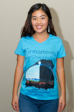 Firmament V-Neck Shirt, White, Turquoise, Red - sacred-word-publishing-2
