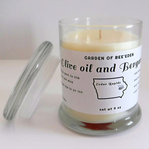 """Olive Oil and Bergamot"" - Ascented Collection pure beeswax and soy wax 9 oz candles"