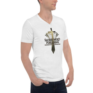 New Sacred Word Publishing Logo - Unisex Short Sleeve V-Neck T-Shirt