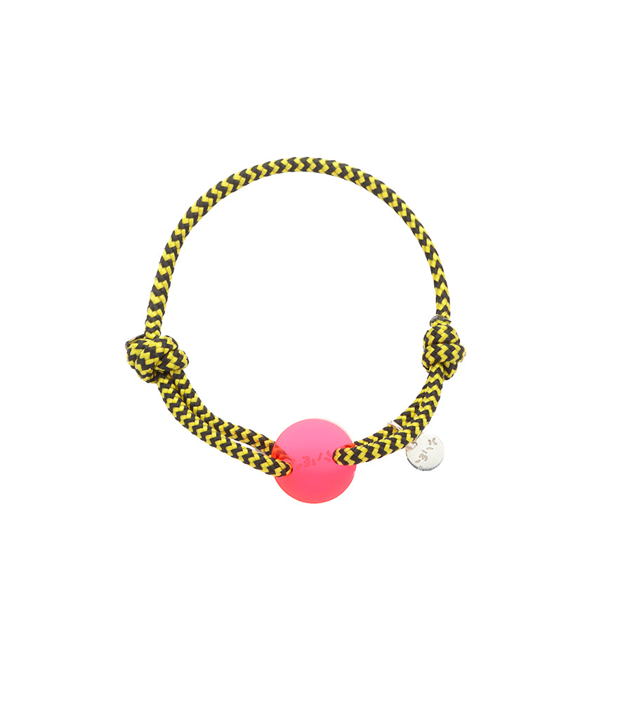 Bracelet Acrylic Yellow & Black red circle