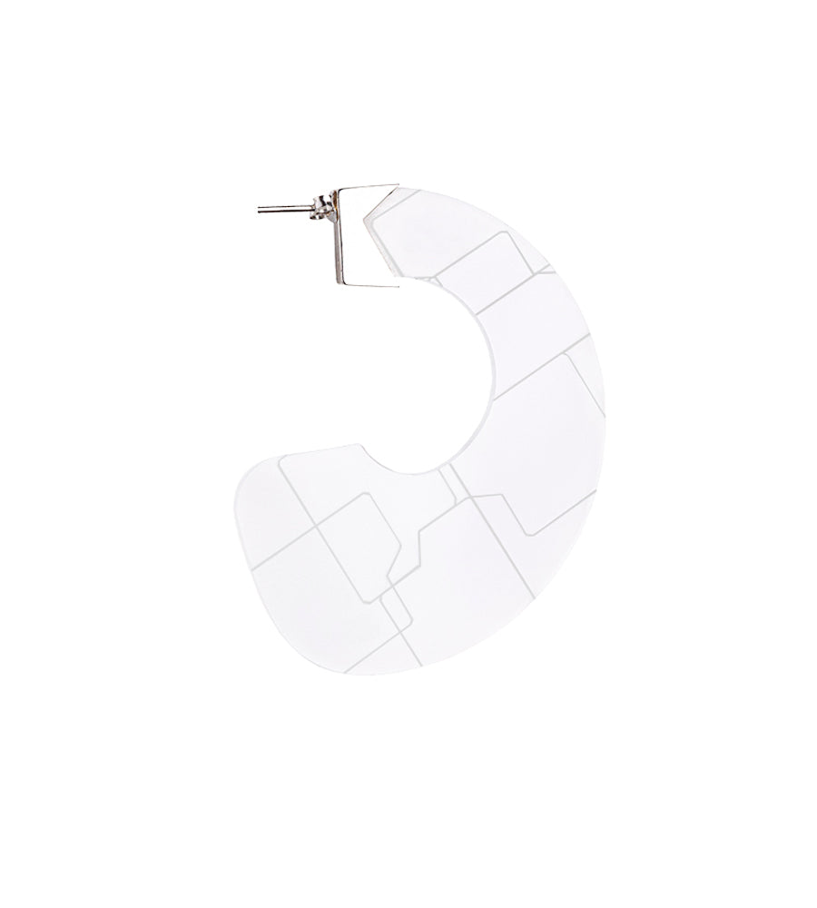 Abstract white earring