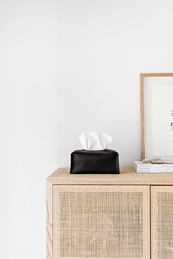 Leather Tissue Box Cover - Black