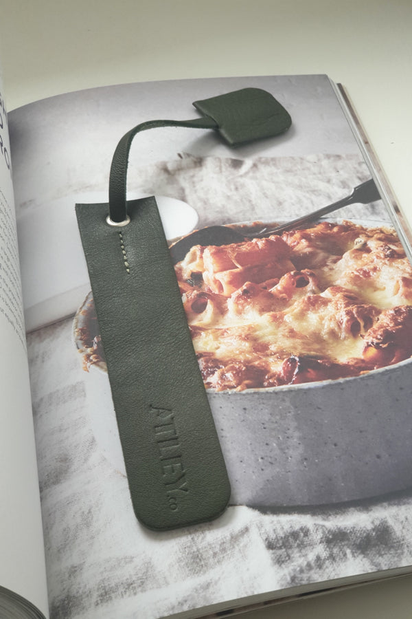 Leather Book Mark - Olive