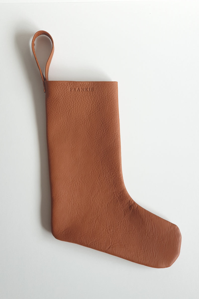 Leather Christmas Stocking - Tan - Option to personalise