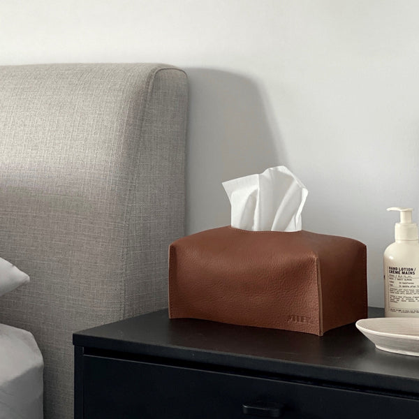Leather Tissue Box Cover - Tan