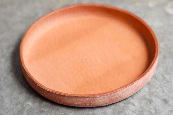 Leather storage tray CIRCLE