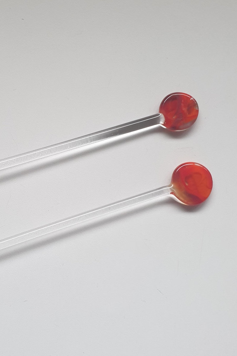 Glass Swizzle Sticks - Red Rose (2pcs)